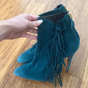 Brian Atwood Suede Fringe Ankle Boot